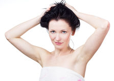 Woman in a towel after shower Royalty Free Stock Photo