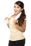Woman with towel standing with confidence Stock Photography