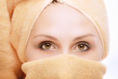 Woman, with towel wound round head Royalty Free Stock Photo