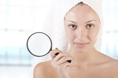 Woman With Towel Around Her Head Royalty Free Stock Photo