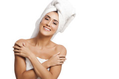 Woman wrapped in towels Stock Image