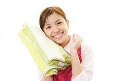 Woman with towels Stock Images
