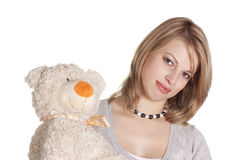 WOMAN WITH THE TOY BEAR Royalty Free Stock Photography