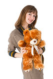 Woman toy bear Royalty Free Stock Photography