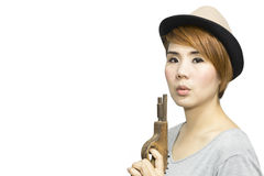 Woman with toy gun Stock Photography