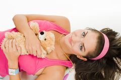 Woman with toy lay on the floor Royalty Free Stock Photos
