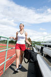 Woman at Track Stock Photo
