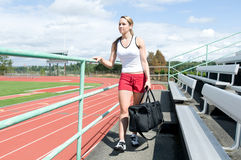 Woman at Track Stock Photos