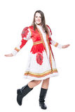 Woman in tradition folk Russian costume. Isolated on white background Stock Image
