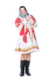 Woman in tradition folk Russian costume with shawl. Isolated on white background Stock Photography