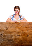 Woman in traditional bavarian clothes, Oktoberfest. Studio shot, Royalty Free Stock Image