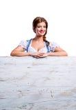 Woman in traditional bavarian clothes, Oktoberfest. Studio shot, Royalty Free Stock Photo
