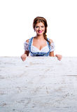 Woman in traditional bavarian clothes, Oktoberfest. Studio shot, Stock Photography