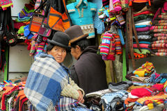 Woman in traditional bolivian hat at the market Stock Image