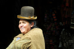 Woman in traditional bolivian hat Stock Images