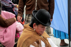 Woman in traditional bolivian hat on the street Royalty Free Stock Photography