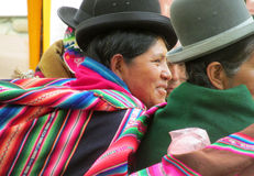 Woman in traditional bolivian hat on the street Stock Image