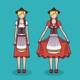 Woman traditional cloth oktoberfest design Royalty Free Stock Photos