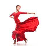 Woman traditional dancer in red dress Royalty Free Stock Image