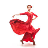 Woman traditional dancer in red dress Stock Photography