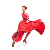 Woman dancer wearing red dress Royalty Free Stock Image