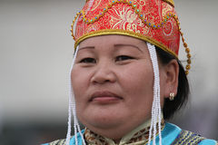 Woman in traditional mongolian clothes Royalty Free Stock Photos