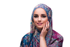 The woman in traditional muslim cover with ring Royalty Free Stock Images