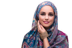 The woman in traditional muslim cover with ring Royalty Free Stock Photos