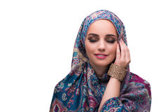 The woman in traditional muslim cover with ring Stock Photography
