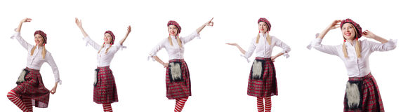 The woman in traditional scottish clothing Royalty Free Stock Photo
