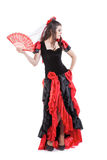 Woman traditional Spanish Flamenco dancer dancing Royalty Free Stock Photo