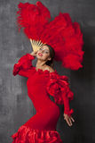Woman traditional Spanish Flamenco dancer dancing in a red dress Stock Photo