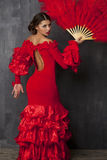 Woman traditional Spanish Flamenco dancer dancing in a red dress Stock Photos