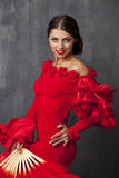 Woman traditional Spanish Flamenco dancer dancing in a red dress Stock Images