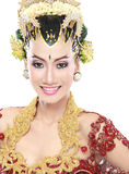 Woman traditional wedding dress of java Royalty Free Stock Photo