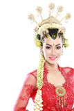Woman traditional wedding dress of java Royalty Free Stock Image