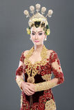 Woman traditional wedding dress of java Stock Images