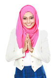 Woman with traditional welcoming Royalty Free Stock Images