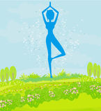 Woman in a traditional yoga pose Royalty Free Stock Photos