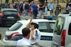 Woman traffic cop Rome city street Italy Stock Photos