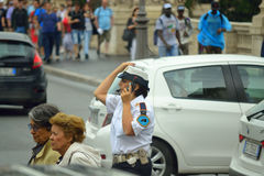 Woman traffic cop Rome city street Italy Stock Photography