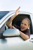 Woman in Traffic Jam Royalty Free Stock Photography