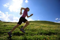 Woman trail runner running on mountain trail Royalty Free Stock Photo