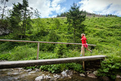 Woman trail running on bridge in mountains on summer day Stock Photography