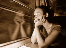 Woman in train Stock Photos