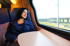 Woman in the train Royalty Free Stock Image
