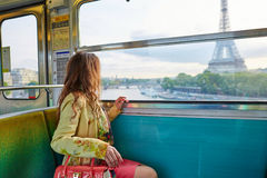 Woman in a train of Parisian underground Stock Image