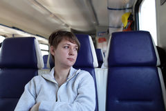 Woman in train Stock Photography