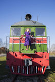 Woman and train on rails not move Stock Images
