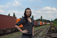 Woman at the train station Royalty Free Stock Images